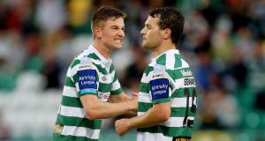 Ronan Finn (left) scored for Shamrock Rovers against Shelbourne. Photograph: Ryan Byrne/Inpho
