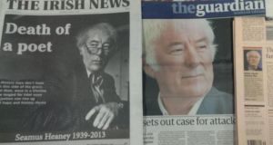 A sample of how a number of newspapers reported the death of Seamus Heaney.