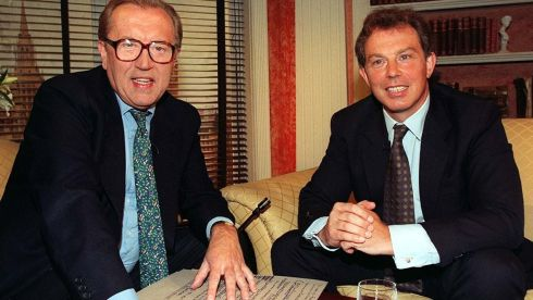 BBC undated handout photo of former British Prime Minister Tony Blair with Sir David Frost on the BBC's 'Breakfast with Frost'. Photograph: BBC/PA Wire