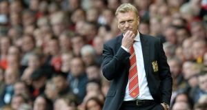 Manchester United manager David Moyes during his side's deafeat at Anfield. Photograph: PA.