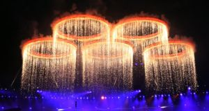 Fireworks light up the stadium during the Opening Ceremony of the London 2012 Olympic Games at the Olympic Stadium on July 27, 2012 in London, England.   Photograph: Ian MacNicol/Getty Images