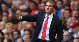 Liverpool Manager Brendan Rodgers gestures during the Barclays Premier League match against Manchester United at Anfield. Photograph: Alex Livesey/Getty Images