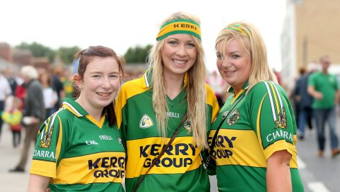 Kerry fans Marie Flaherty, Ciara Healy and Denise Flaherty from Moyvane, ahead of the game. Photograph: James Crombie/Inpho