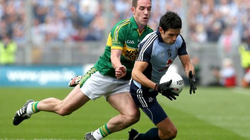 Dublin's Cian O'Sullivan and Declan O'Sullivan of Kerry. Photograph: Ryan Byrne/Inpho