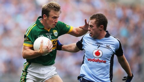 Dublin's Jack McCaffrey and Donnchadh Walsh of Kerry. Photograph: Cathal Noonan/Inpho