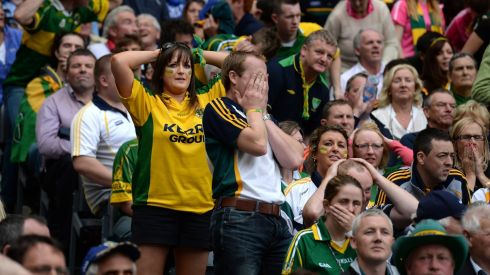 Kerry fans can't watch near the end of the All-Ireland senior championship football semi-final against Dublin at Croke Park. Photograph: Dara Mac Dónaill/The Irish Times