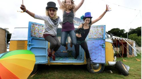 Rearing to go: Aoife Bolger, Naas, Sammy Murphy, Dublin and Roisin Loughnane, Clare on the first day of the Electric Picnic at Stadbally, Co Laois. Photograph: Brenda Fitzsimons/The Irish Times