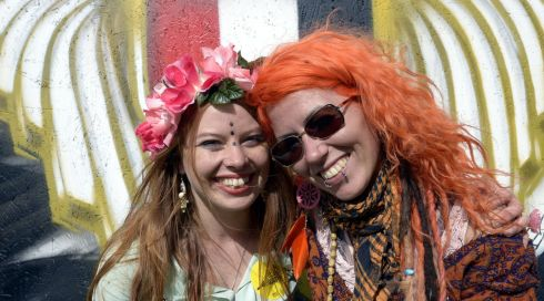 Colourful girls: Sinead Mercier, Connemara, and Emily Dawson, Dublin, at the Electric Picnic. Photograph: Brenda Fitzsimons/The Irish Times
