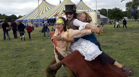 We're mad, us: Nestar the Nomad, left, Helena Breathnach and Sarah Goyvaerts, both from Cork, at the Electric Picnic. Photograph: Brenda Fitzsimons/The Irish Times