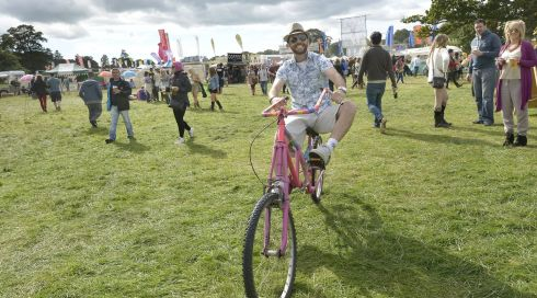 Phillip Gamble from Leixlip, Co Kildare with his crazy machine. Photograph: Brenda Fitzsimons/The Irish Times