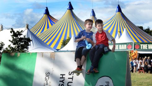 Young fellas on the make: Andrew McGinley (8),  Drumcondra, and Cillian Ryan (9), Raheny, at the Mindfield. Photograph: Brenda Fitzsimons/The Irish Times