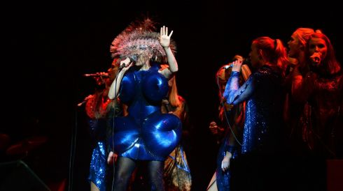 Bjork does a suitably enigmatic turn on the Main Stage. Photograph: Brenda Fitzsimons/The Irish Times