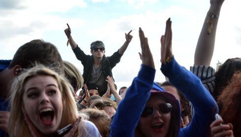Revellers enjoy Ellie Goulding's Main Stage slot. Photograph: Brenda Fitzsimons/The Irish Times