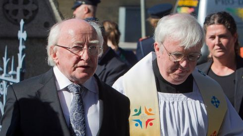 President Michael D Higgins arrives for the funeral of a fellow poet. Photograph: Liam McBurney/PA Wire