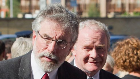 Gerry Adams and Martin McGuinness attend the Heaney funeral. Photograph: Liam McBurney/PA Wire