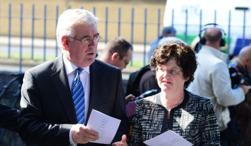 Tánaiste Eamon Gilmore and his wife Carol Hanney at the funeral of Seamus Heaney. Photograph: Bryan O'Brien/The Irish Times