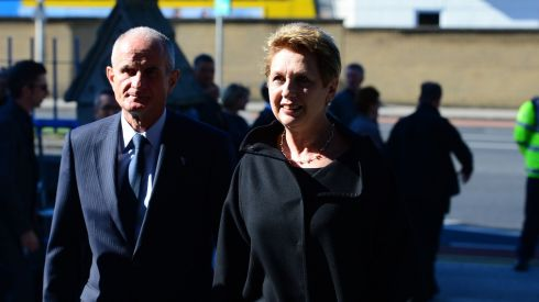 Former president Mary McAleese and her husband Dr Martin McAleese arrive for the funeral of Nobel Prize-winning poet Seamus Heaney at the Church of the Sacred Heart in  Donnybrook, Dublin. Photograph: Bryan O'Brien/The Irish Times
