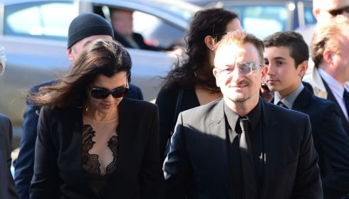 Bono of U2 and his wife Ali Hewson at the funeral of Seamus Heaney. Photograph: Bryan O'Brien/The Irish Times