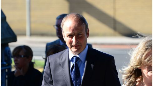 Fianna Fáil leader Micheál Martin arrives.  Photograph: Bryan O'Brien/The Irish Times