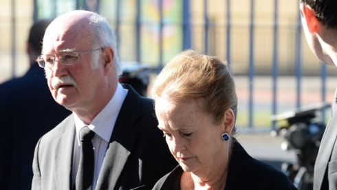 Peter Fallon of Gallery Press and former chair of the American Ireland Fund Loretta Brennan Glucksman on arrival. Photograph: Cyril Byrne/The Irish Times