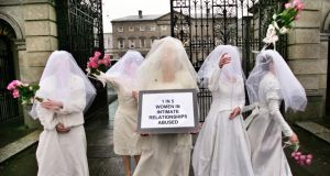 A Women's Aid protest outside Leinster House to illustrate the fact that one in five women suffer the effects of violence in the home. Photograph: Matt Kavanagh