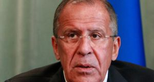 Russia's foreign minister Sergei Lavrov stressed that in Moscow's view the only solution to the Syrian crisis was a diplomatic one. Photograph: Maxim Shemetov/Reuters