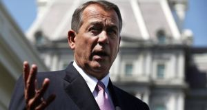 John Boehner, speaker of the US House of Representatives,  who  said  yesterday he supported the US president's call for action against the Assad regime in Syria, renewing jitters among investors. Photograph:  Alex Wong/Getty Images