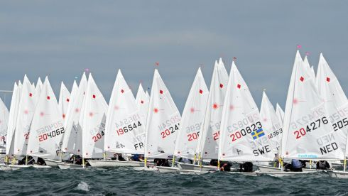 Competitors jockey for position at the start of competition  in the Laser European and World Sailing Championships, at Dun Laoghaire on Monday. Photo: Eric Luke / THE IRISH TIMES