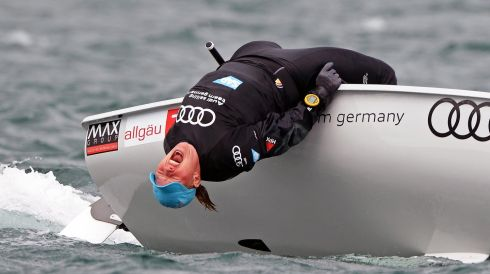 Germany's Lisa Fassett shows her frustation while rounding the mark, in the Laser European and World Sailing Championships, at Dun Laoghaire. Photo: Eric Luke / THE IRISH TIMES