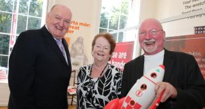 Pictured at the launch of the Kennedy Summer School 2013 in the Little Museum of Dublin today, were speakers Newstalk presenter George Hook, former minister Mary O'Rourke and  space commentator Leo Enright. Photograph: Mary Browne