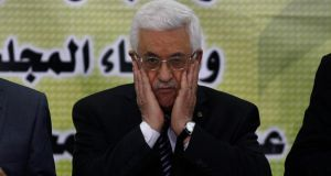 Palestinian president Mahmoud Abbas prays during a meeting of the Fatah Revolutionary Council. Mr Abbas' aide Yasser Abed Rabbo said that the negotiations, which kicked off in late July after a three year hiatus, had made no progress. Photograph: Mohamad Torokman/Reuters