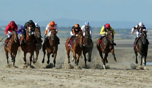 A view of the field during the first race of the dayat Laytown races Co.Meath. Photo : INPHO/Donall Farmer