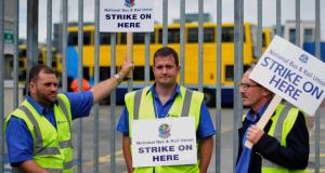 Striking bus drivers picket   outside Dublin Bus Ringsend Garage in Dublin on August 4th.  Photograph: Aidan Crawley