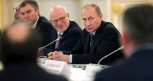 Russian president Vladimir Putin at a meeting in the Kremlin in Moscow today. Photograph:  Reuters