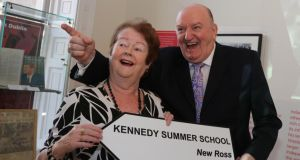 "Mary O'Rourke and George Hook at the launch of the Kennedy Summer School in Dublin yesterday. In relation to Pat Kenny's Newstalk show, Mr Hook said: ""If he gets to 200,000 listeners and I'm still alive . . . I'll wash his underwear for a year."" Photograph: Mary Browne"