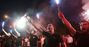 Supporters of the extreme-right Golden Dawn party in Greece. Photograph: Grigoris Siamidis/Reuters