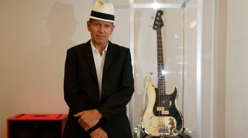The bassist Simonon with his bass. Photograph: Jonathan Brady/PA Wire
