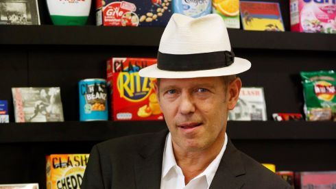 Paul Simonon with a load of Clash-branded groceries behind him. There's gotta be a good reason and the reason's gotta be good. Photograph: Jonathan Brady/PA Wire