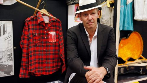 Simonon with other Clash memorabilia. Photograph: Jonathan Brady/PA Wire
