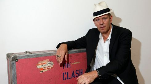 The Clash bassist Paul Simonon at the Black Market Clash pop-up exhibition and store in Soho, London, to mark the release of the group's remastered collected works Sound System box set and new best of collection, Hits Back. Photograph: Jonathan Brady/PA Wire