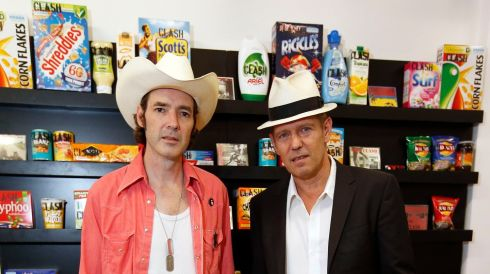 Subway Gallery's Gordon McHarg III (left) and Simonon at the Clash pop-up exhibition. Photograph: Jonathan Brady/PA Wire