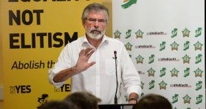 Sinn Féin president Gerry Adams was speaking at the pary's planning day in Carlingford, Co Louth today. Photograph: Cyril Byrne/The Irish Times