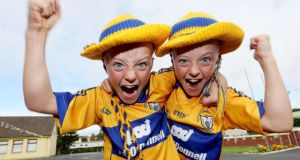 Ten-year-old twins Colm and Noel Flynn from St Finnachta's national school, Sixmilebridge. Photograph: Inpho/James Crombie