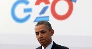 US President Barack Obama speaks to the media during a news conference at the G20 summit in St Petersburg.