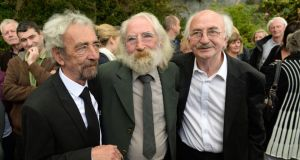Mickey, Cormac and Cathal Mac Connell at the funeral of their brother, Seán Mac Connell, at the Church of the Divine Word, Rathfarnham. Photograph: Frank Miller