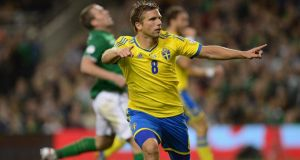 Anders Svensson of Sweden celebrates his winner at the  Aviva Stadium. Photograph: Getty Images