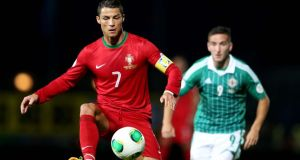 Portugal's Cristiano Ronaldo hit a second-half hat-trick at Windsor Park. Photograph: Inpho