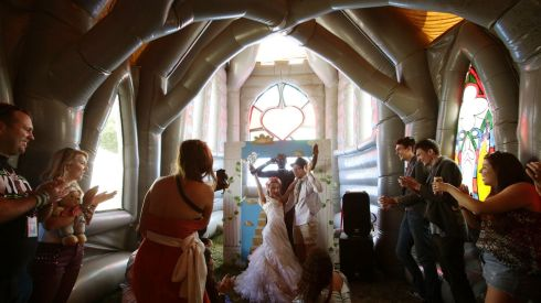 Inside the inflatable church for that 'wedding'. Great, isn't it? Photograph: Yui Mok/PA Wire