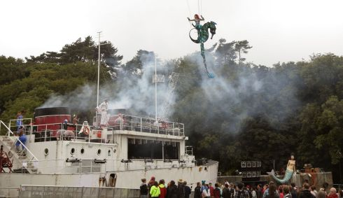 The official HMS Bestival Port Opening. That's where the sailors came from, obviously. Photograph: Yui Mok/PA Wire