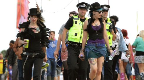 Police officers mingle with the crowd at Bestival. Photograph: Yui Mok/PA Wire